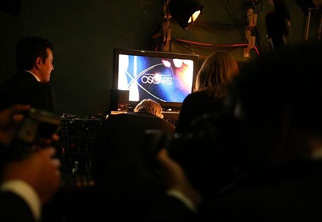 Seth MacFarlane backstage at the Oscars.