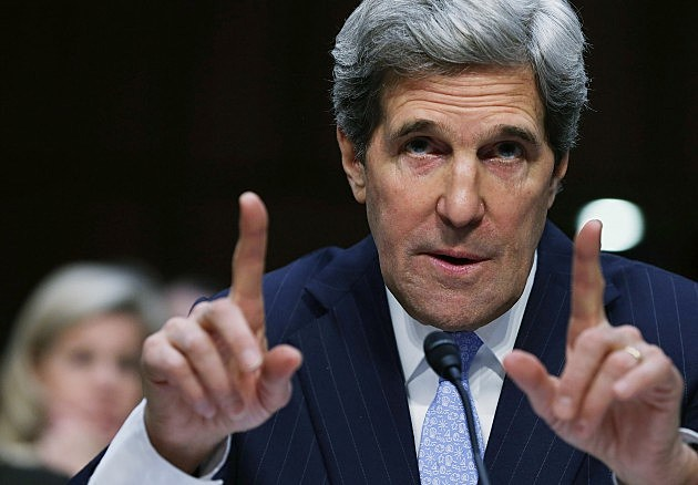 John Kerry makes a point for confirmation as Secretary of State.