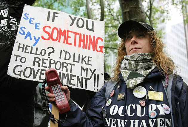 Tammy Bick, member of Occupy Wall Street expresses disgruntlment with U.S. Federal Government