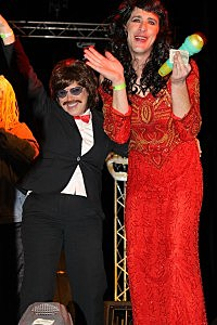 Townsquare Media Flashback Party costume contest winners from the 60s, Sonny & Cher, pockete the $250.00 prize.