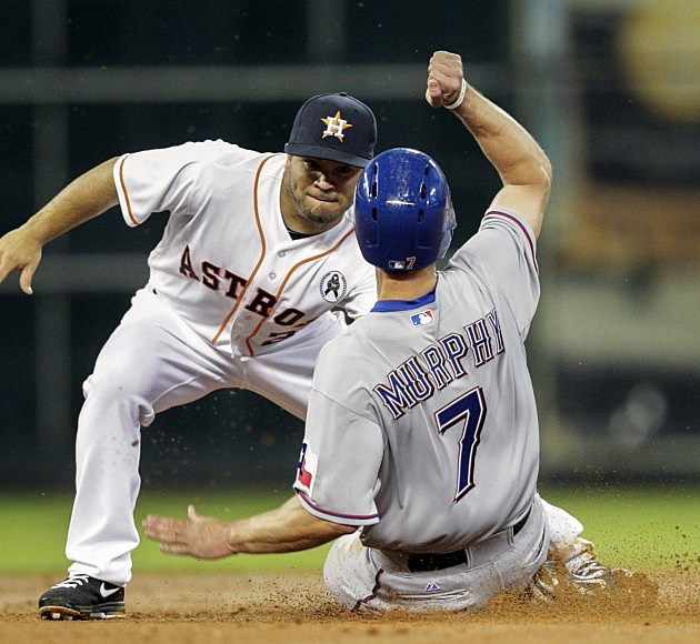 David Murphy of the Rangers tagged out at second