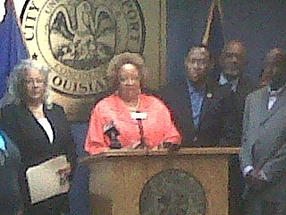 Mayor's Chief of Staff Bernadine Anderson addresses media and supporters about summer jobs program.