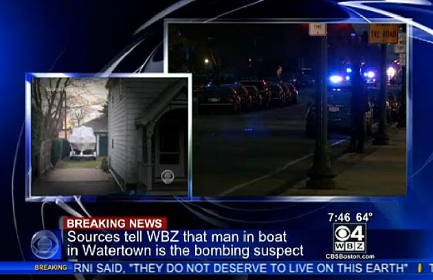View of Boat Boston Bombing Suspect Is In