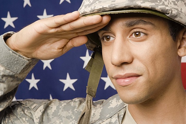 Soldier saluting by American flag