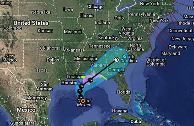 Predicted path of Tropical Storm Karen