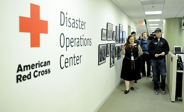 Denny Hamlin Makes A Pit Stop To Tour The Red Cross Disaster Operations Center