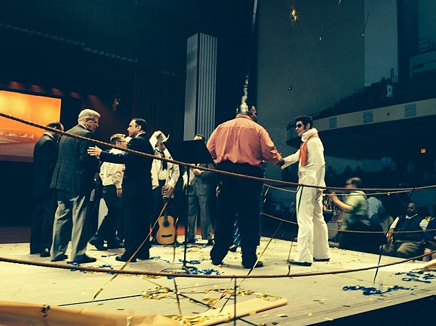 "photo with Mayor Glover, ""Elvis,"" and others in the ring after the ribbon-cutting"