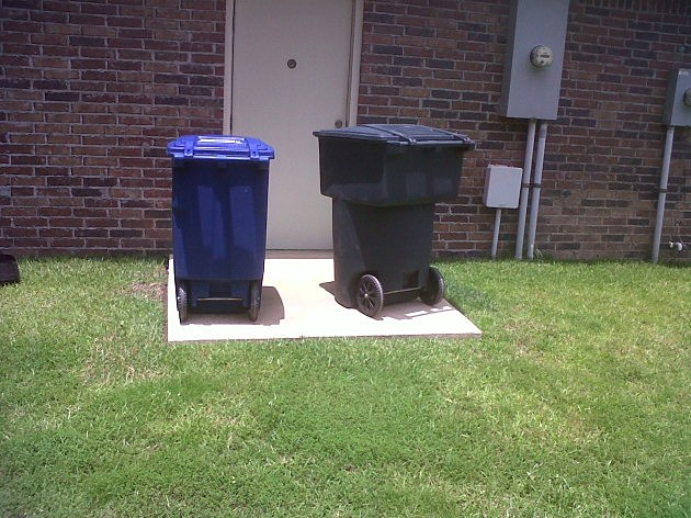 photo of trash and recycling containers