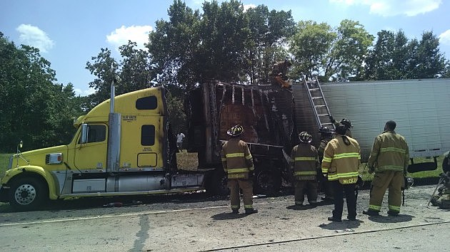 photo of burned 18-wheeler trailer