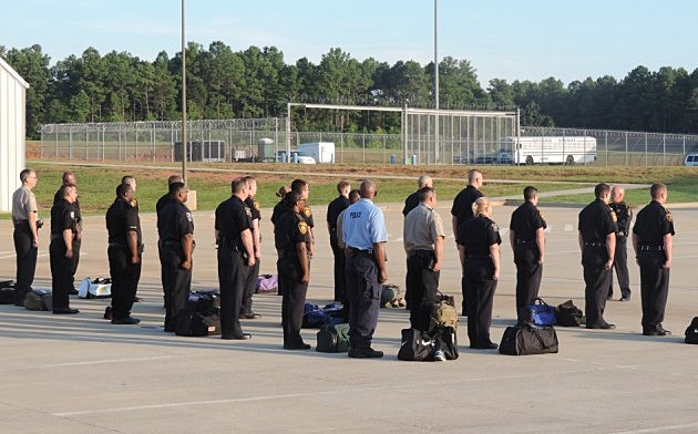 photo of NLCJA class 12 recruits receiving instructions from Capt. Bruce Teutch, Bossier Parish Sheriff's Office